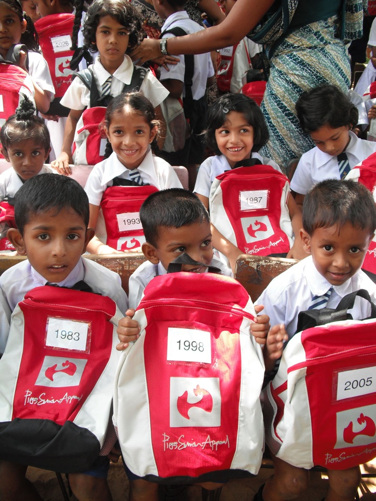 Children in the Yala district of Sri Lanka receive their SchoolBags