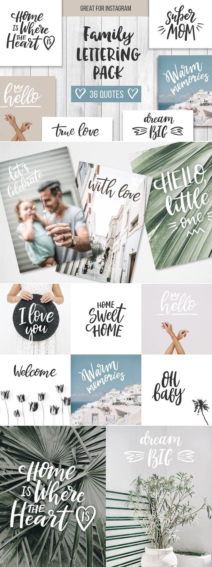Family Lettering Pack - Illustrations #brushlettering #qoute #motivation #Handlettering #lettering #typography #brushtype #designinspiration #goodletters #handmadefont #moderncalligraphy #calligratype #calligraphy