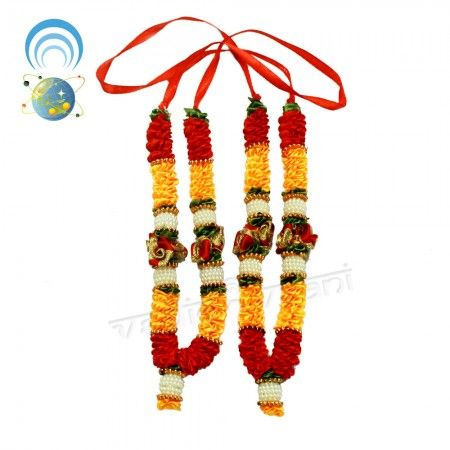 Artificial Flowers Garland online store, Puja Haar Vedicvaani.com Pooja haar of Lord Ganesha online shopping Shringar Items, garlands made of Satin flowers. Deity Haar, Artificial garland made of Satin flowers in Red, Yellow, Green, flowers with White, Golden color mofies. Flower garlands have the capacity of uplifting the aura of any place, a smile on your face just through their presence.