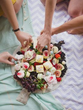 Flower Filled Bridesmaid Party - Dessert platter including macarons, fresh fruit, lemon cheesecake, chocolate gems..