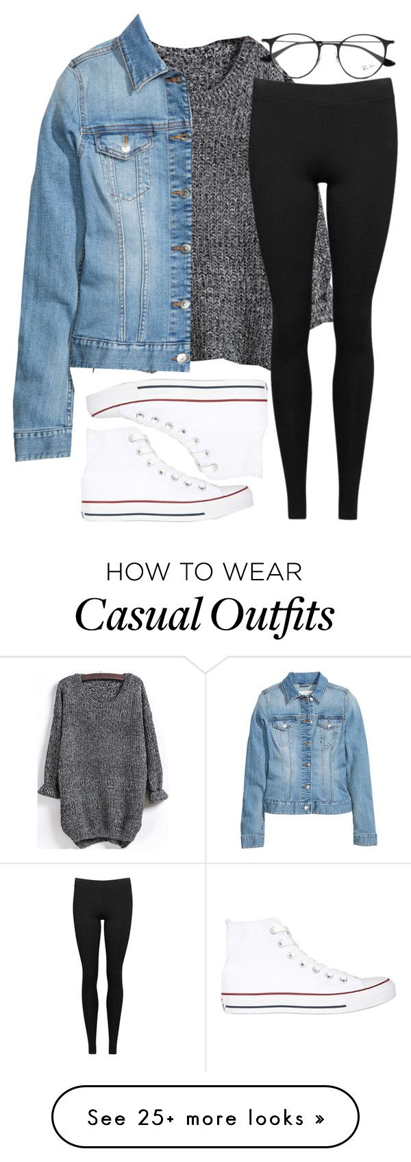 """Casual Outfit"" by candice04 on Polyvore featuring Converse, H&M, Vince and Ray-Ban"