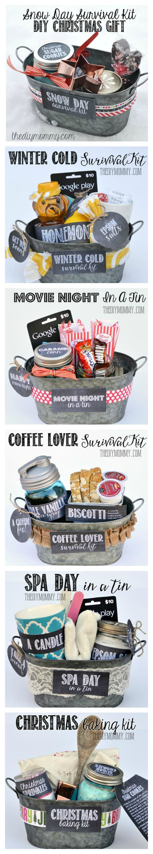 Gifts In A Tin ~ Some wonderful ideas! All 6 gift basket ideas come with free tags and labels, and a list of suggested items... Snow Day Survival Kit, Winter Cold Survival Kit, Movie Night in a Tin, Coffee Lover Survival Kit, Spa Day in a Tin, Christmas Baking Kit: http://thediymommy.com/a-gift-in-a-tin-christmas-baking-kit-gift