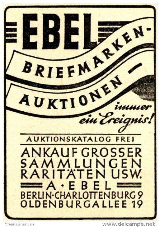 Original-Werbung/ Anzeige 1946 - EBEL BRIEFMARKEN - AUKTIONEN / BERLIN - CHARLOTTENBURG / OLDENBURGALLE - ca. 45…