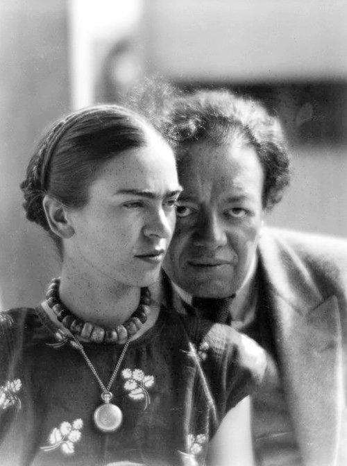 """""""There have been two great accidents in my life. One was the trolley, and the other was Diego. Diego was by far the worst. """" - Frida Kahlo - Frida Kahlo and Diego Rivera by Martin Munkácsi. Mexico, 1933. S)"""