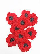 Red Crotcheted Poppy Flower Pins by LilyBedilly on Etsy www.facebook.com/lilybedilly