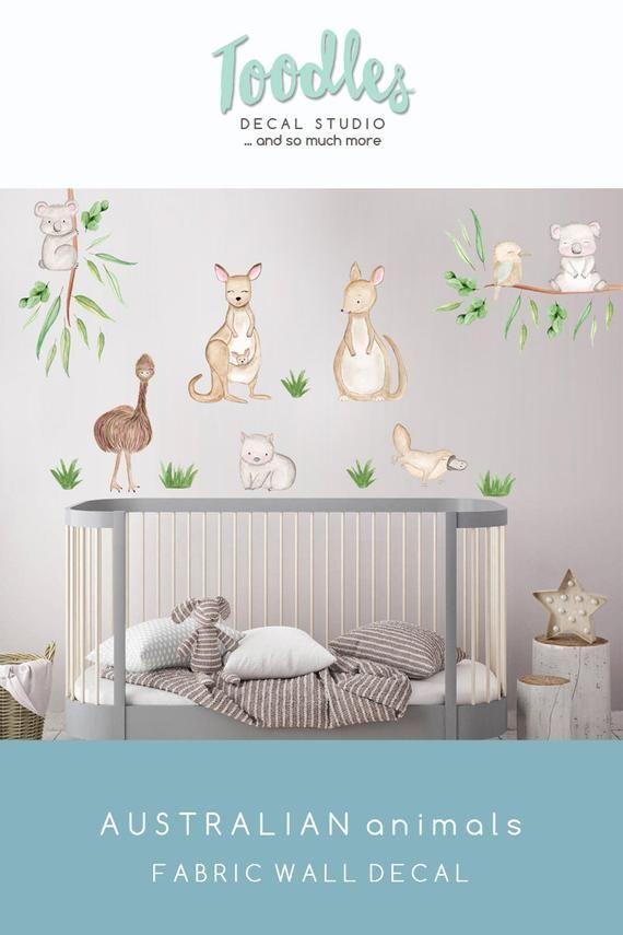 Australian Animal Wall Decal Nursery Cute Kangaroo Fabric Stickers Kids Koala Decor Baby Room W Baby Room Wall Art Nursery Decals Beautiful Nursery Decor