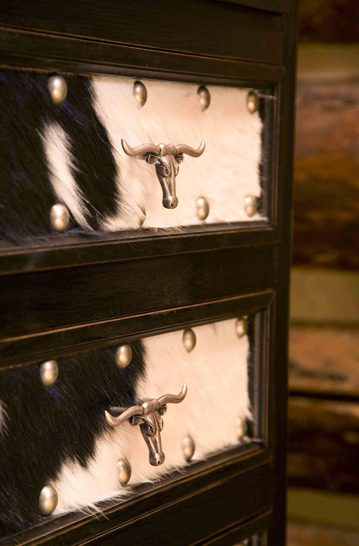 Rustic Western Furniture Store In Dallas Tx - Love the hide and handles do on front of old dresser in western bedroom