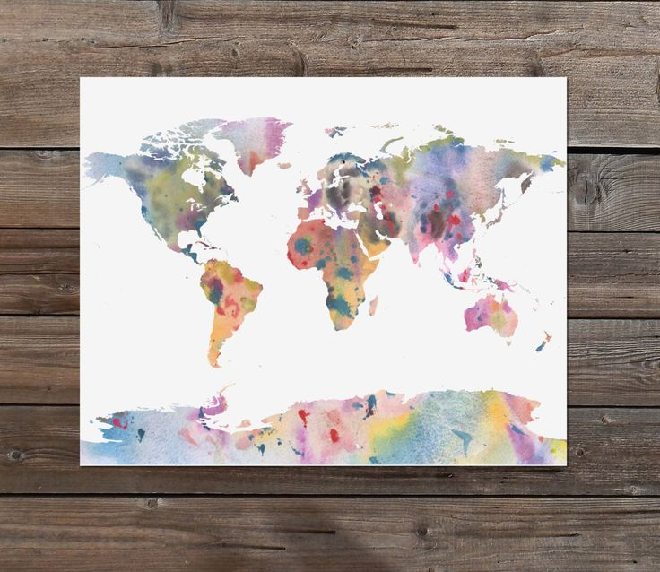 SALE watercolor abstract world map in atlas art print instant printable download dorm art student children's nursery art printy mom sister by TheArtyApples on Etsy