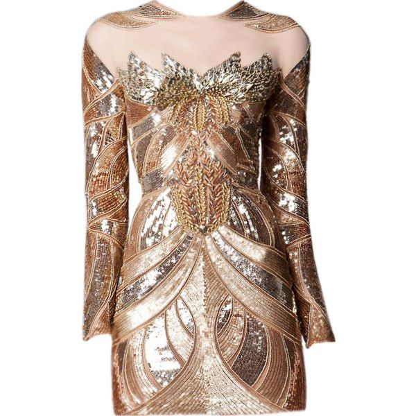 satinee.polyvore.com - Zuhair Murad Couture 2017 ❤ liked on Polyvore featuring dresses, gowns, vestidos, short dresses, satinee, couture dresses, brown dresses, mini dress and brown mini dress