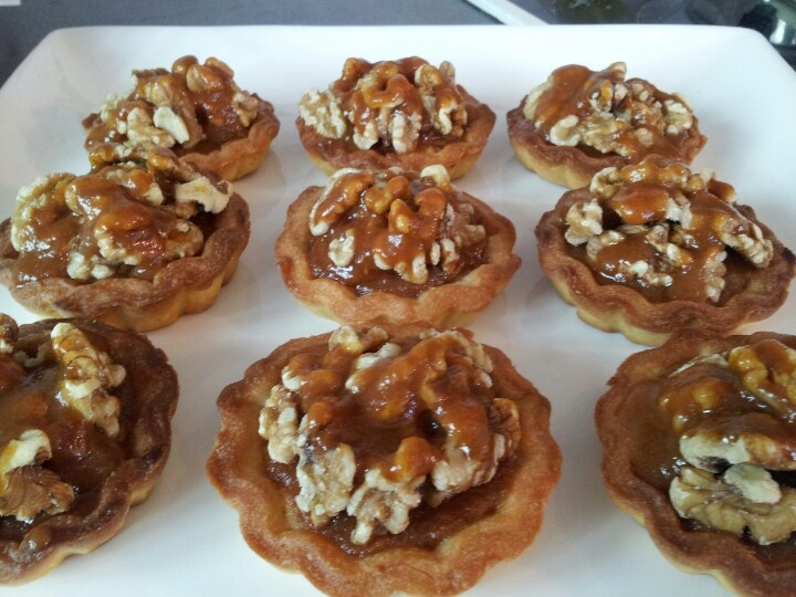 Caramel walnut tarts. Little and Friday recipe