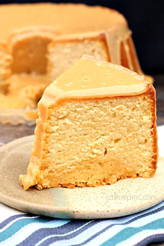 Peanut Butter Pound Cake recipe with peanut butter frosting. Desserts
