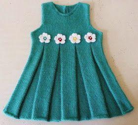 Kız çocuk örgü modelleri çiçek desenli turkuaz kız çocuk elbise resmi pile yapılışı ile       kız çocuk hırka anlatımlı re...
