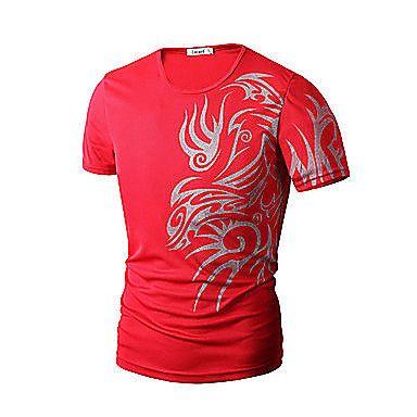 Kortærmet+Tryk+/+Ensfarvet+Mænds+T-shirt+Fritid+/+Arbejde+/+Formelt+/+Sport+/+Plusstørrelse+Bomuldsblanding+–+DKK+kr.+60