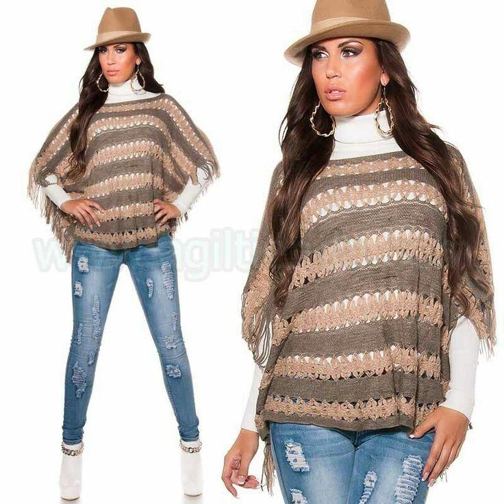 #Elegante #poncho @mujer #tejido de #punto con dos #colores #diseño con #flecos #tendencia y #mesclar un #estilo #casual y #sofisticado para #complementar un #look #chic y #sexy con todas tus #prendas de #vestir en este #otoño #invierno #2015 #2016. Encuentralo en #ponchos de http://www.agiltienda.com/es/home/2294-poncho-de-lana-dise%C3%B1o-chic.html #online #shop @agiltienda.es
