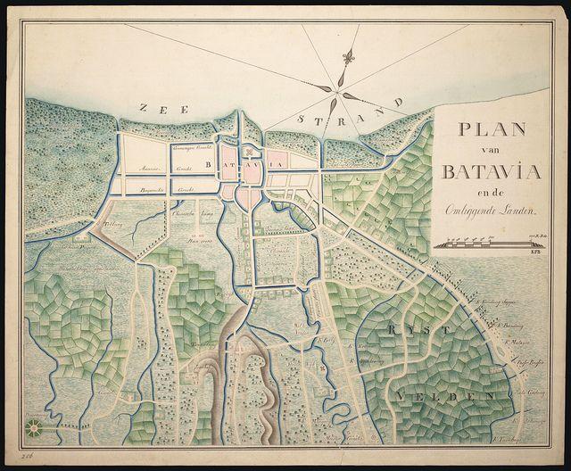 Plan van Batavia en de omliggende landen, 1800-1850 / Map of Batavia and surrounding countryside, 1800-1850
