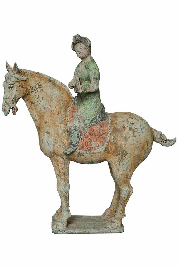 """Liuqin"" player with horse, Shaanxi central China, Tang Dynasty VIII cent., red terracotta with polychrome on white slip, 40x15x46 cm will be exhibited by SCHREIBER COLLEZIONI, Turin (I) #flashbackfair #exhibitors #turin #flashback16 #thenewsyncretism #allartiscontemporary"