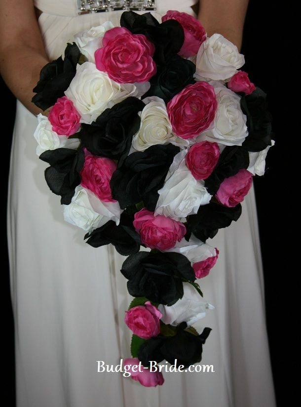 Black, pink and white flower bouquet for me. Really love this idea, pulling all the colors in the wedding together. Matron of honor would have a similar one, but with no hanging flowers at the bottom
