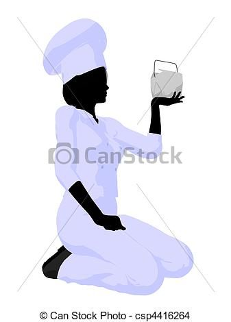 Female Chef Art Illustration Silhouette | Restaurant, Chef ...
