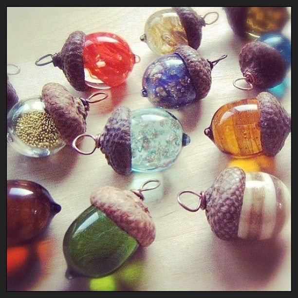 Cuteness crafts recycled pinterest upcycle for Acorn necklace craft