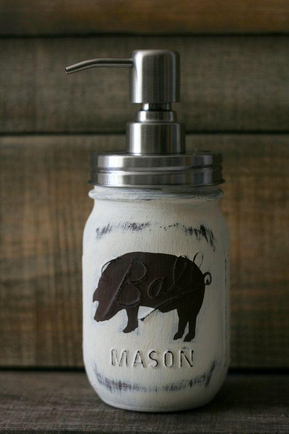 Rustic Pig Mason Jar Soap Dispenser by LovelyLilysPlace on Etsy