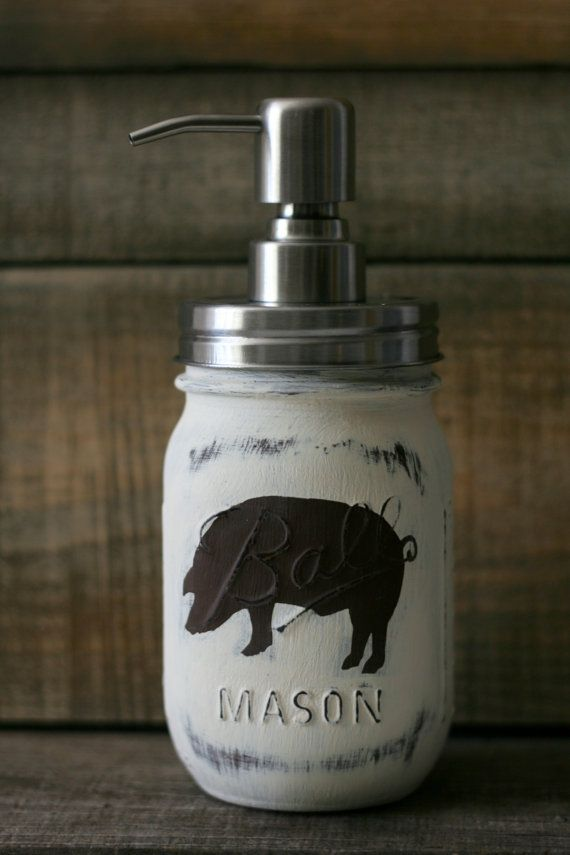 Rustic Pig Mason Jar Soap Dispenser by LovelyLilysPlace on Etsy