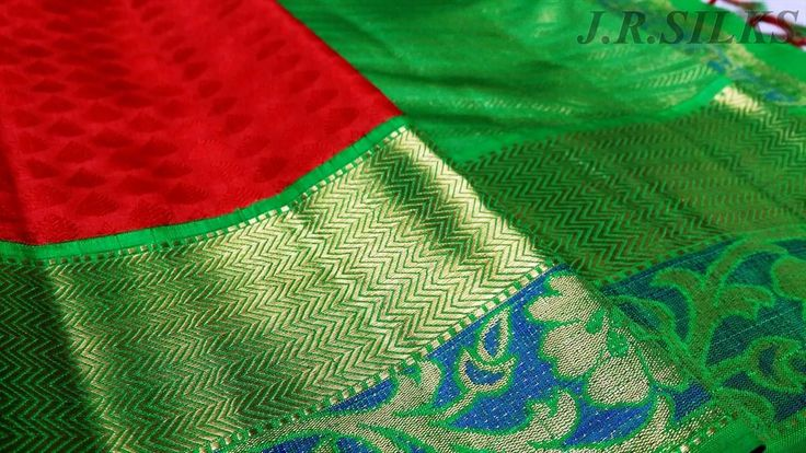 Tomato Red Kanjivaram Saree with Parrot Green Border from Kanchipuram JR Silks www.YarnStyles.com