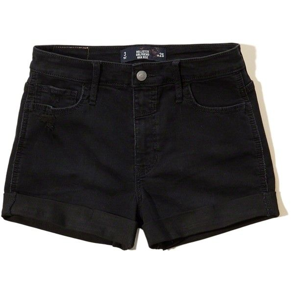 Hollister High-Rise Denim Girlfriend Shorts ($50) ❤ liked on Polyvore featuring shorts, black, high waisted zipper shorts, highwaist shorts, zipper shorts, relaxed fit denim shorts and denim short shorts