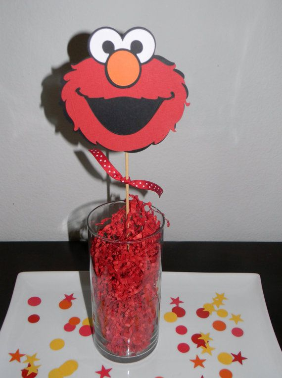 Elmo Centerpiece Picks Set of 3 by YourPartyShoppe on Etsy