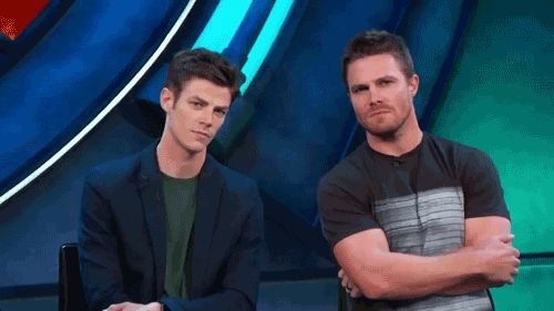 #Arrow  Grant Gustin(Flash) & Stephen Amell(Oliver)
