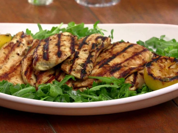 Grilled Lemon and Rosemary Chicken (from Jamie Dean on Foodnetwork). This is WONDERFUL! You can also cut the chicken in chunks and grill on a skewer.