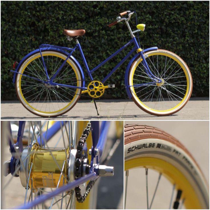 Blue and yelow comb retro bike #handmade