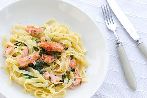 It's Pasta Time: Tagliatelle with creamy spinach and pan-fried salmon