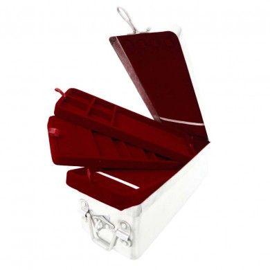 Antique Silver Tone Aluminum Red Velvet Multi Layer Rectangular Case Jewelry Box