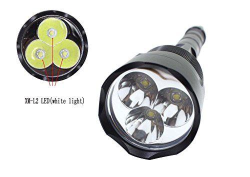 Especificaciones:   Tipo del emisor: 3x XM-L T6 LED  Luz Color: Blanco  Cantidad del LED: 3  Cinfigurations batería:  3x5000mAh 18650 3.7V (incluya la batería y el cargador)   Localización del interruptor: Cola  Modo de 5 interruptores: alto> mediados> baja>... http://comprarlinternaled.com/deportivas/caza/genwiss-3x-cree-xm-l-t6-led-3800-lumenes-brillantes-estupendos-antorchas-5-interruptor-de-la-linterna-de-aluminio-para-camping-caza-bicicleta-