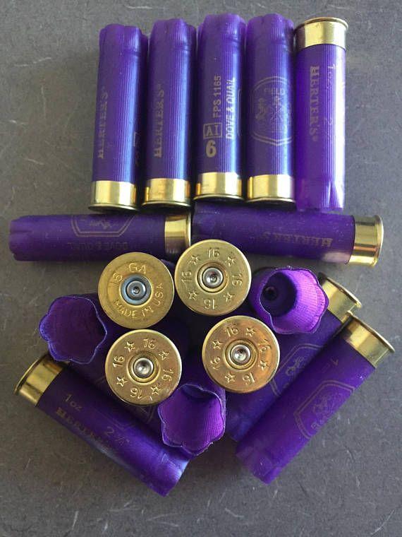 Empty Purple Shotgun Shells 16 Gauge Hulls Spent Shotshells Once