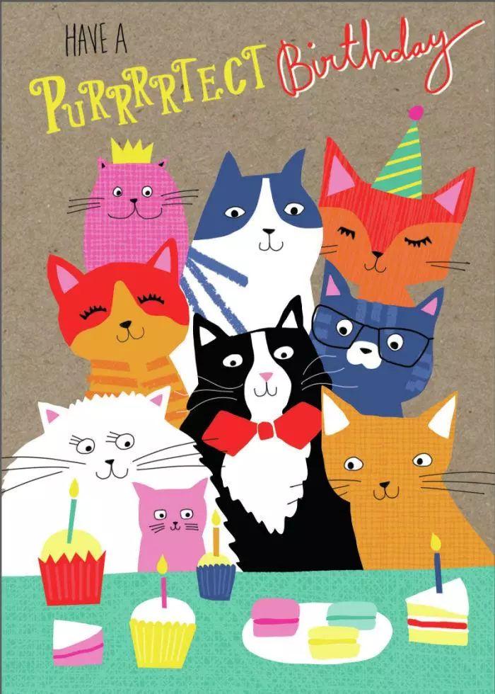 открытки с кошками на день рождение