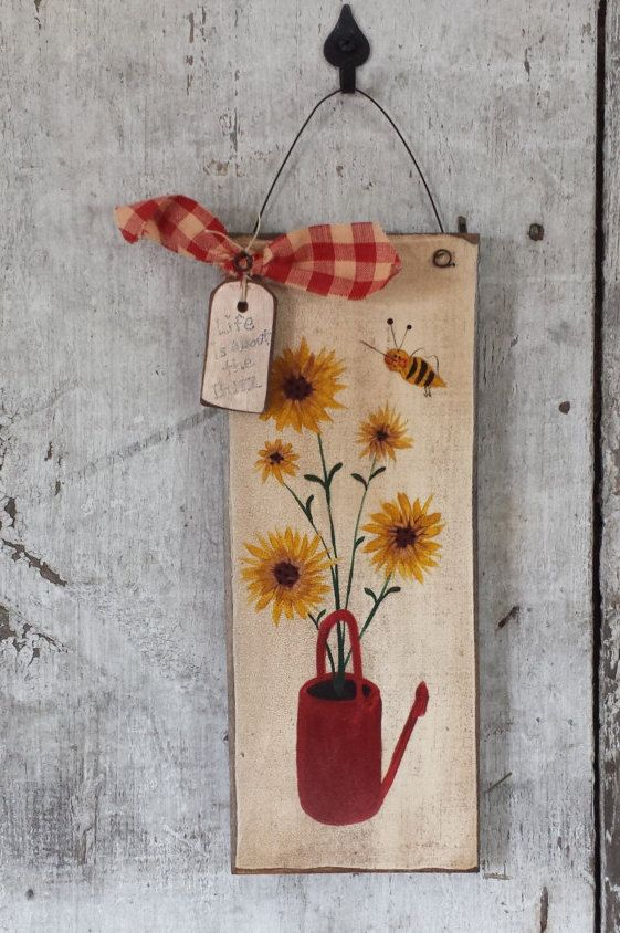 Primitive Country Bee Summer With SunflowersSummer DecorPrimitive BeeCountry