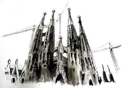 arquitecto eduardo di clerico sketch of la sagrada familia barcelona gaudi godus architect