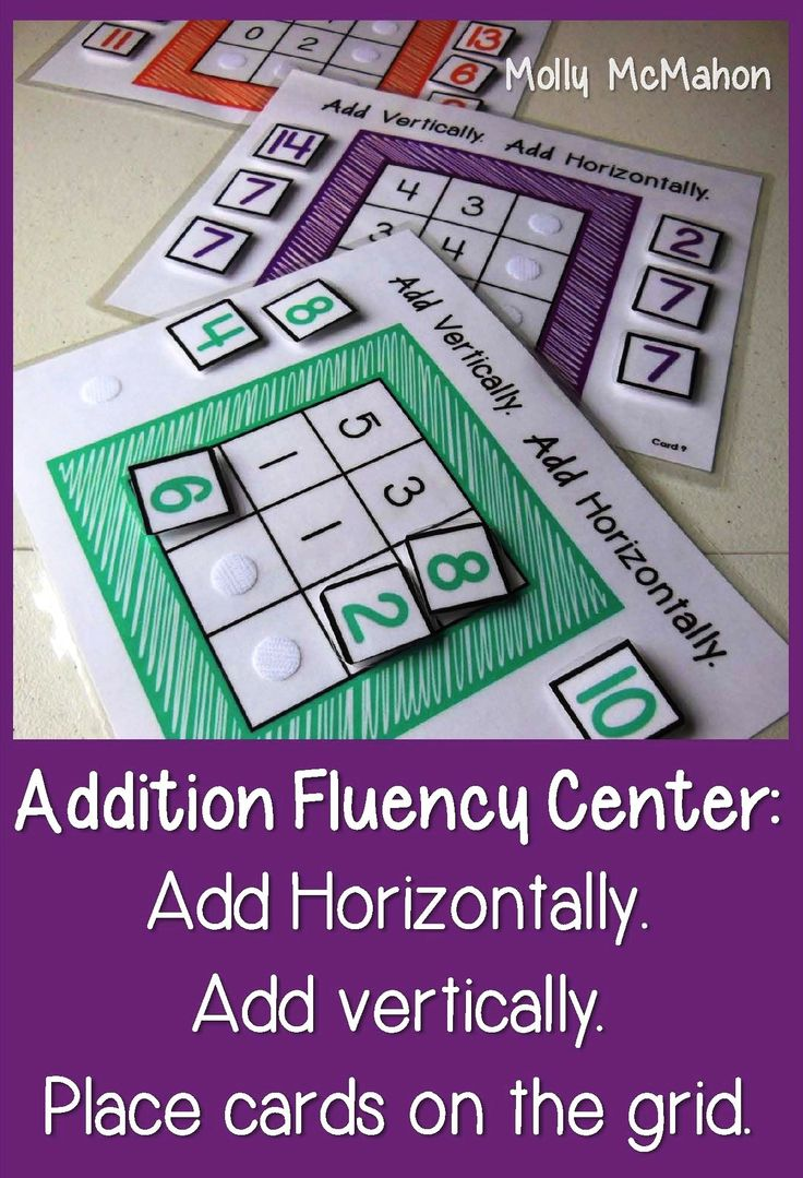 #Addition #fluency #center for first grade. Students add horizontally and vertically, They then position the numeral cards which are the sums in the appropriate squares on the grid. We laminated this center. Velcro® coins were used to fasten the numeral cards.