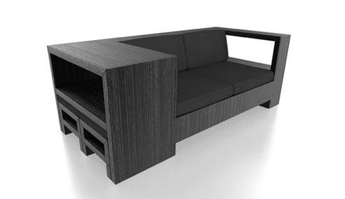 """couch made from pallets, there are 2 little footstools or seats tucked in the """"side table"""" nifty design!"""