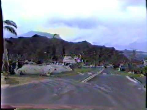 Hurricane Iniki,  driving through Hanalei a few weeks after the hurricane.