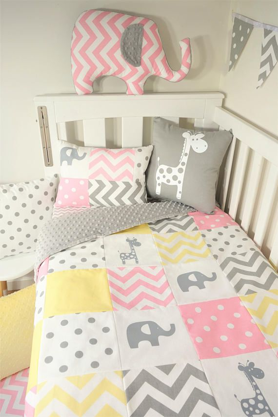 Patchwork Quilt Nursery Set Pink Yellow And Grey Elephants