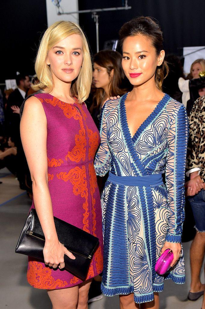 Jess Weixler and Jamie Chung backstage at the Diane Von Furstenberg Spring 2015 show