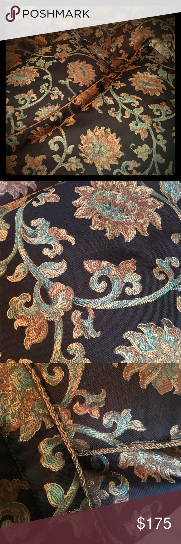 Gorgeous King size comforter set Includes 2 pillow shams and bed skirt.  Beautiful designs with gold, turquoise and brown design on black background.  Barely used.  This was not a cheap set bought at a discount store.  I paid over $800...price is firm. Other