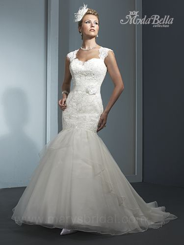 ... Style   Re Embroidered Lace And Georgette, Sweetheart Tank Mermaid Wedding  Bridal Gown With Chapel Train, Embroidery, Illusion Sleeves And Keyhole Back .