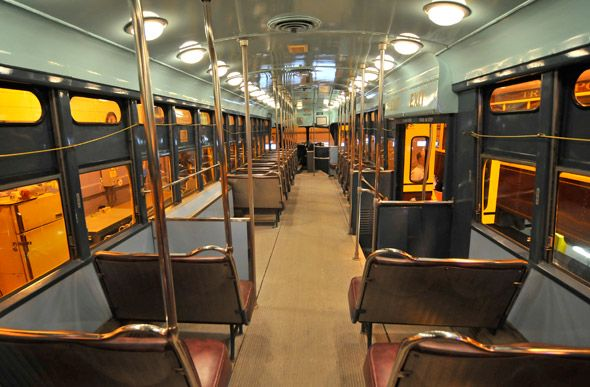 The interior of a PCC from a 1960s streetcar toronto (**so classic and comfortable!**)
