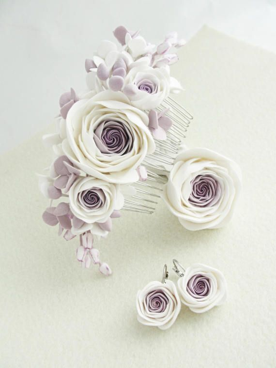 Ranunculus Flower Comb Ring Earrings Wedding floral comb