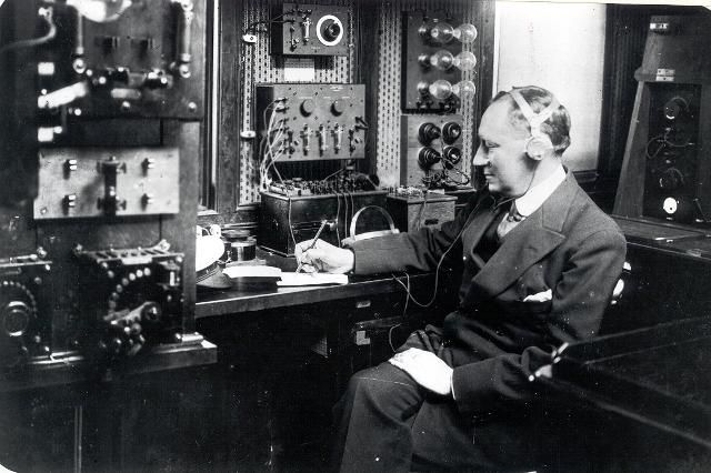 Marconi with his radio equipment on the Elettra, c. 1930