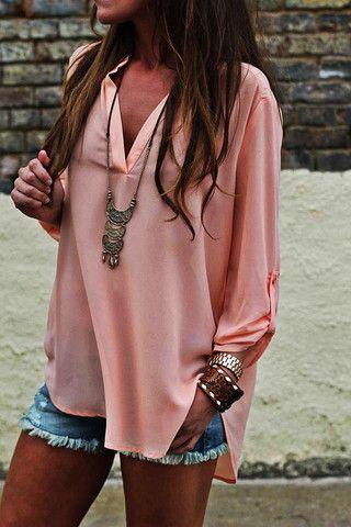 Big loose blouse, long necklace, cut offs