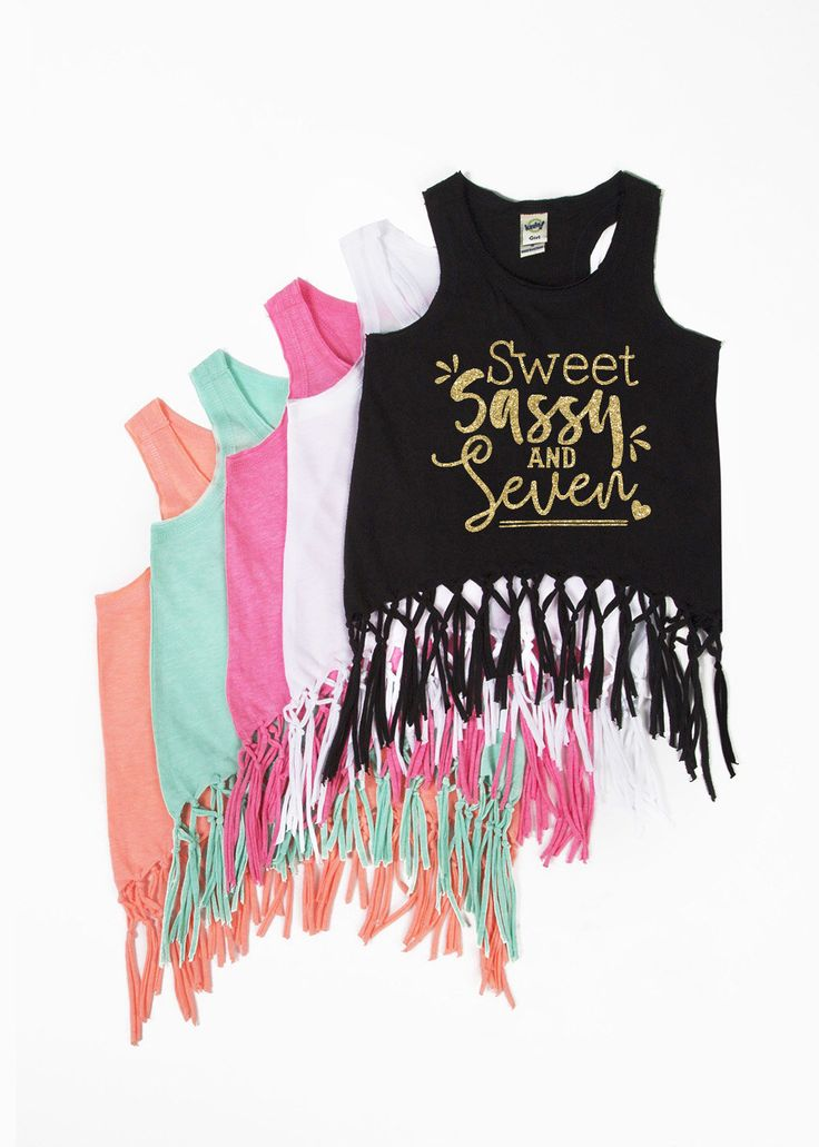 DISCOUNT code ANNABELLE15 to save on your entire purchase   Sweet Sassy and Seven - Fringe Tank Top - SEVEN - 7th Birthday - Sweet and Sassy - Birthday Girl - Girls' Tank Tops - Seven Year Old by VazzieTees on Etsy https://www.etsy.com/listing/499993110/sweet-sassy-and-seven-fringe-tank-top